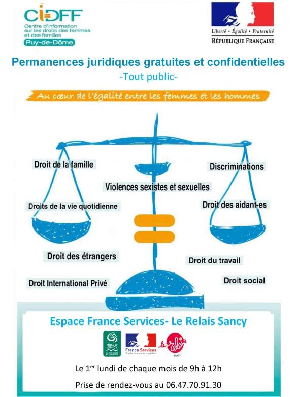 Permanence du CIDFF – Centre d'Information sur le Droit des Femmes et des Familles du Puy de Dôme